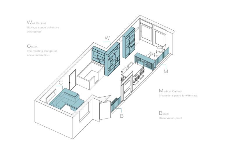 3D weergave nieuwe indeling zorgwoning