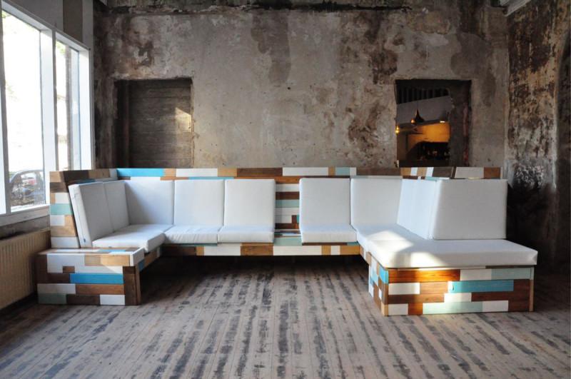 ontwerp uvorm zitbank recycle wood
