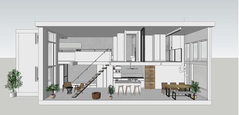 loft amsterdam, 3D doorsnede