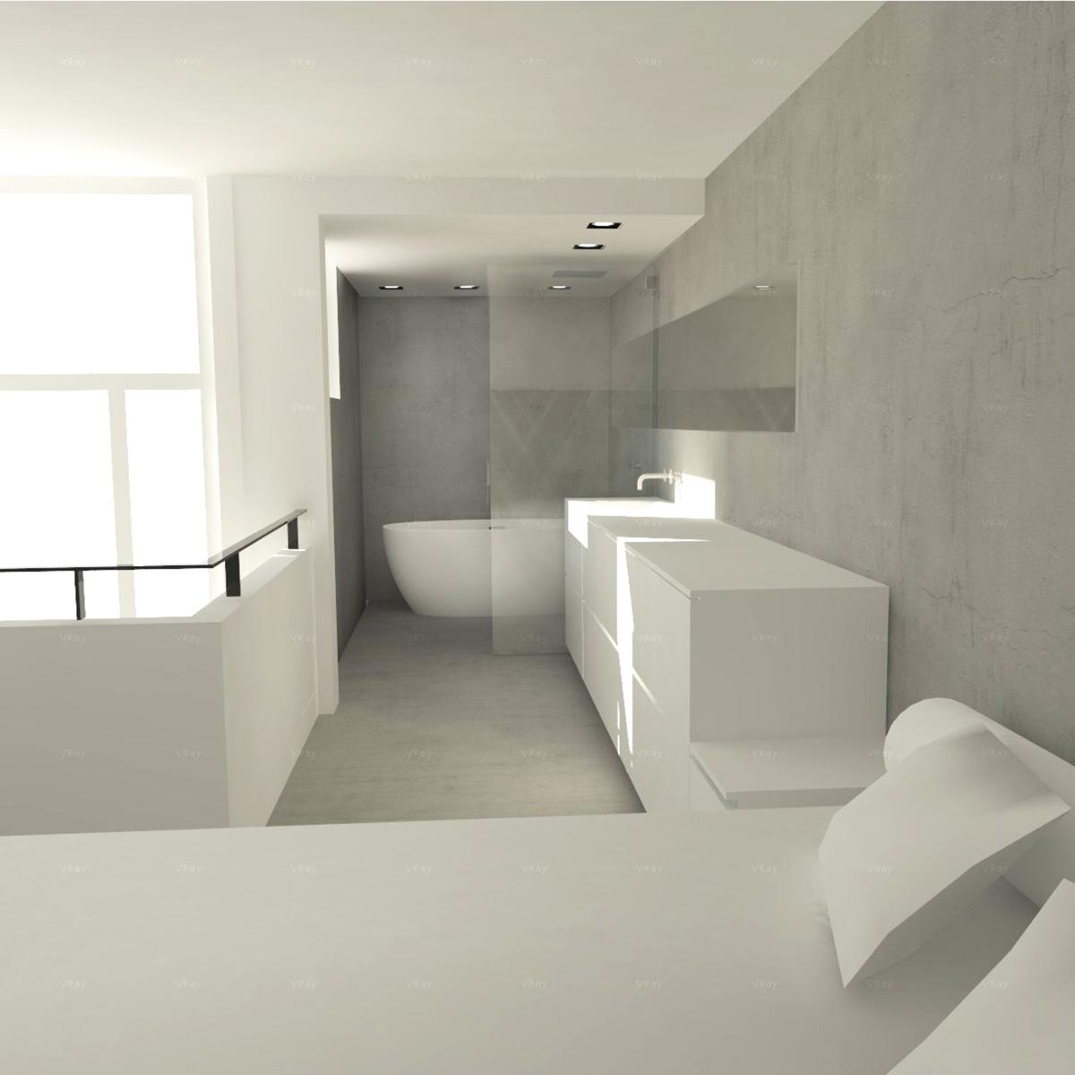 impressie slaapkamer en open badkamer | micromacrodesign