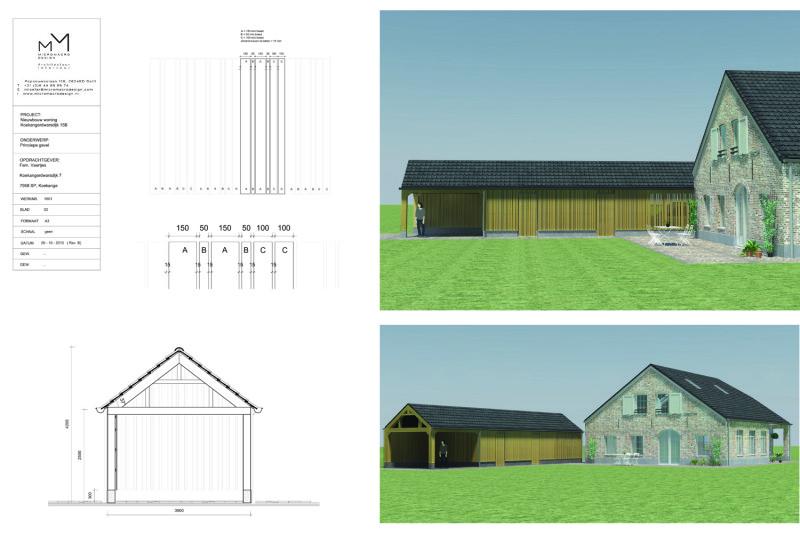 houten garage, 3d impressie, bouwtekening