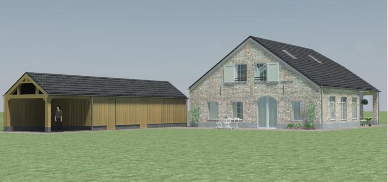 houten garage, 3d impressie