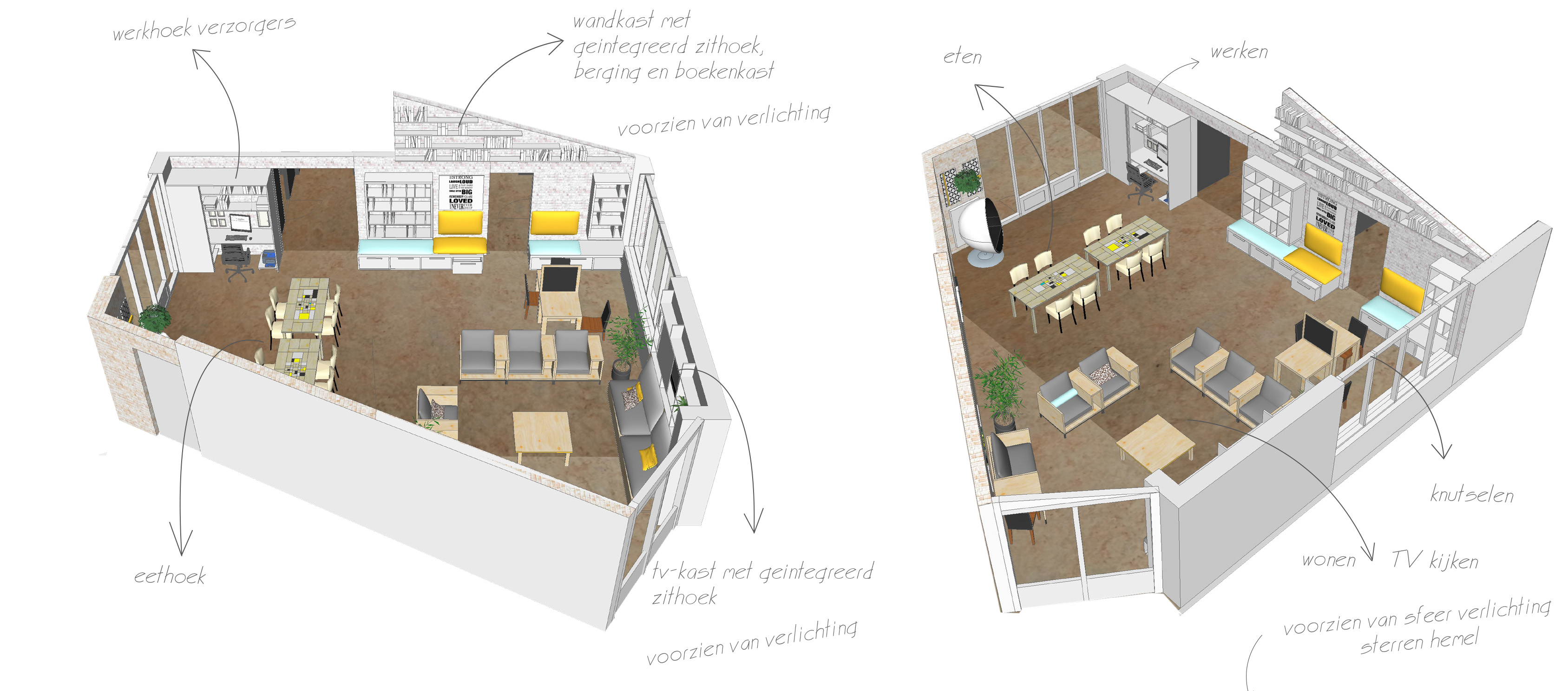 3D plan nieuwe indeling