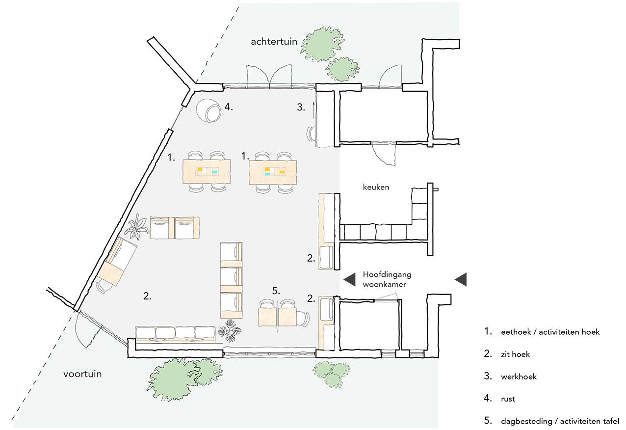 nieuwe indeling woonkamer zorgwoning